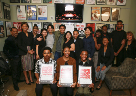 The 2020 August Wilson Monologue Competition (AWMC) Los Angeles regional finalists backstage with the judges. Hosted by Center Theatre Group, AWMC was held at the Mark Taper Forum on February 25. Media Contact: (213) 972-7376 / CTGMedia@ctgla.org. Photo by Ryan Miller/Capture Imaging.