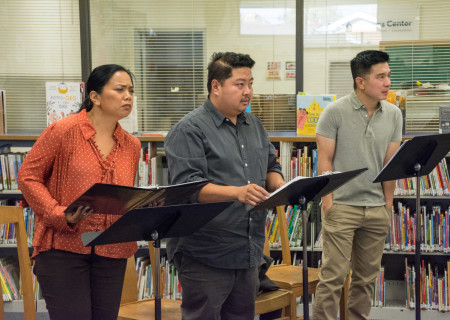 """L-R: Melody Butiu, Jason Rogel and Reggie Lee perform in a library play reading of Giovanni Ortega's """"Allos: The Story of Carlos Bulosan"""" directed by Fran de Leon. Center Theatre Group will present the 2020 library play readings on various dates from January to June at Benjamin Franklin Library, Malabar Library and Robert Louis Stevenson Library. Photo by Hal Banfield."""