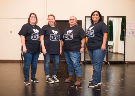 L-R: Esmeralda Camacho, April Cha, Rachel Jurado and Lucille Madera, the school team from Eastman Avenue Elementary, at the orientation for the 2019-2020 Disney Musicals in Schools (DMIS) program hosted by Center Theatre Group. Press Contact: CTGMedia@CTGLA.org / (213) 972-7376. Photo by Mike Palma.