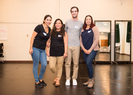 L-R: Sandra Rodriguez, Aura Lopez, Michael Bernstein and Stephanie Logan (not pictured: Amelyn Mendoza), the school team from Dr. Owen Lloyd Knox Elementary, at the orientation for the 2019-2020 Disney Musicals in Schools (DMIS) program hosted by Center Theatre Group. Press Contact: CTGMedia@CTGLA.org / (213) 972-7376. Photo by Mike Palma.