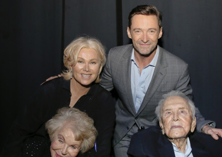 """From left, Anne Douglas, Deborra-lee Furness, Kirk Douglas and Hugh Jackman backstage after Center Theatre Group and MPTF's private, one-night-only benefit reading of """"Kirk and Anne: Letters of Love, Laughter, and a Lifetime in Hollywood"""" at Center Theatre Group's Kirk Douglas Theatre on July 22, 2019, in Culver City, California."""