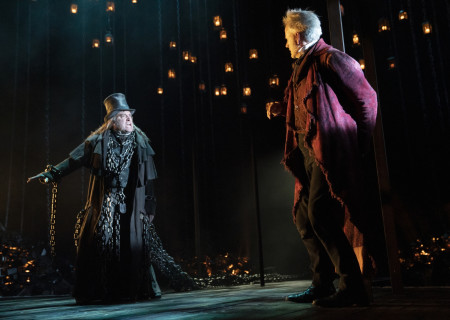 Chris Hoch and Campbell Scott in 'A Christmas Carol' on Broadway. Photo by Joan Marcus.