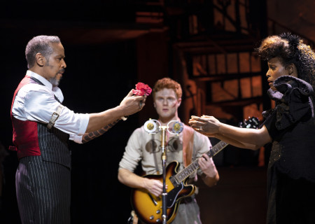 (L-R) Kevyn Morrow, Nicholas Barasch, and Kimberly Marable in the 'Hadestown' North American Tour. Photo by T Charles Erickson.