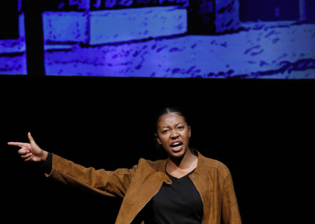 Tyla Uzo performs in the 2020 August Wilson Monologue Competition (AWMC) Los Angeles Regional Finals hosted by Center Theatre Group at the Mark Taper Forum on February 25. Media Contact: (213) 972-7376 / CTGMedia@ctgla.org. Photo by Ryan Miller/Capture Imaging.