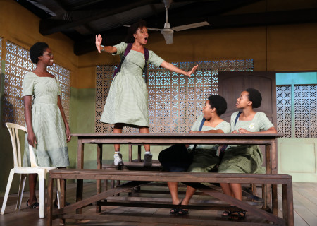 """L-R: Nike Kadri, Nabiyah Be, Paige Gilbert and Mirirai Sithole in the MCC Theater production of """"School Girls; Or, the African Mean Girls Play."""" Written by Jocelyn Bioh and directed by Rebecca Taichman, """"School Girls"""" will be part of Center Theatre Group's 2018-2019 season at the Kirk Douglas Theatre and will run September 2 through 30, 2018. For season tickets and information, please visit CenterTheatreGroup.org or call (213) 972-4444. Media Contact: CTGMedia@CTGLA.org / (213) 972-7376. Photo by Joan Marcus."""