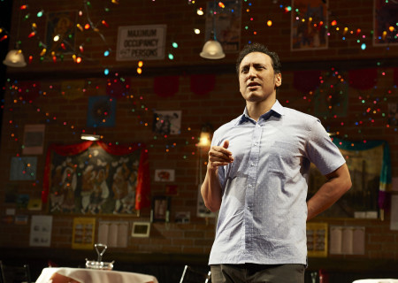 "Aasif Mandvi in ""Sakina's Restaurant,"" which will be part of Center Theatre Group's 2019 – 2020 season at the Kirk Douglas Theatre. Written by Mandvi, originally directed and developed by Kimberley Hughes and directed by Kimberly Senior, ""Sakina's Restaurant"" will run in the Summer of 2020 with exact dates to be announced. ""Sakina's Restaurant"" is an Audible Theater Production. For season tickets and information, please visit CenterTheatreGroup.org or call (213) 972-4444. Media Contact: CTGMedia@CTGLA.org / (213) 972-7376. Photo by Lisa Berg."