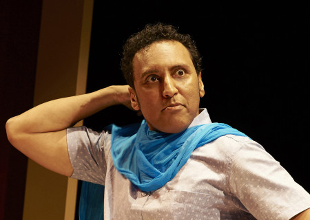 "Aasif Mandvi in ""Sakina's Restaurant,"" which will be part of Center Theatre Group's 2019 – 2020 season at the Kirk Douglas Theatre. Written by Mandvi, originally directed and developed by Kimberly Hughes and directed by Kimberly Senior, ""Sakina's Restaurant"" will run in the Summer of 2020 with exact dates to be announced. ""Sakina's Restaurant"" is an Audible Theater Production. For season tickets and information, please visit CenterTheatreGroup.org or call (213) 972-4444. Media Contact: CTGMedia@CTGLA.org / (213) 972-7376. Photo by Lisa Berg."