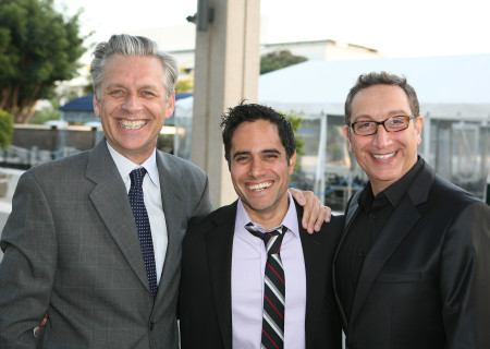 """(L-R) CTG Artistic Director Michael Ritchie, playwright Rajiv Joseph and director Moisés Kaufman pose during the arrivals for the opening night performance of """"Bengal Tiger at the Baghdad Zoo"""" at the Center Theatre Group/Mark Taper Forum on April 25, 2010 in Los Angeles, California."""