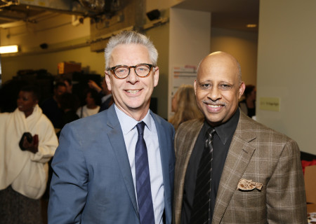 """L to R: Michael Ritchie and Ruben Santiago-Hudson at the opening night performance of August Wilson's """"Jitney"""" at Center Theatre Group/Mark Taper Forum on Nov. 24, 2019 in Los Angeles, California."""