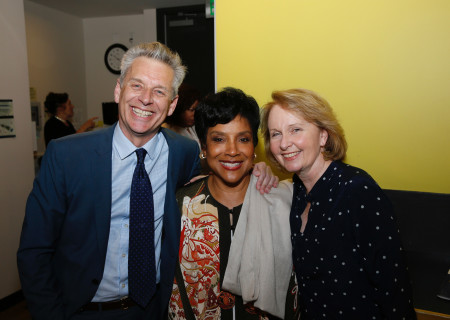 """From left, Center Theatre Group Artistic Director Michael Ritchie, cast member Phylicia Rashad and actor Kate Burton backstage after the opening night performance of """"Head of Passes"""" at Center Theatre Group/Mark Taper Forum on Sunday, September 24, 2017, in Los Angeles, California."""