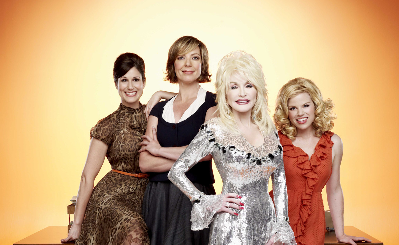(L-R) Stephanie J. Block, Allison Janney, Dolly Parton, and Megan Hilty in '9 to 5: The Musical.'