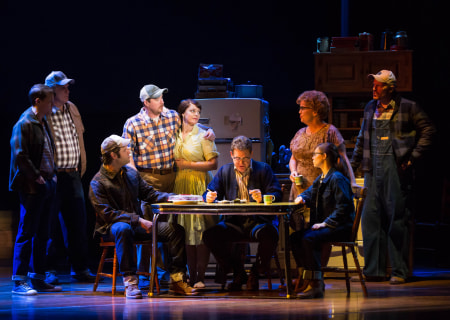 "L-R: Dave Thomas Brown, Tom Treadwell, Cole Burden, Cullen R. Titmas, Elizabeth Stanley, David Hess, Mary Callanan, Caitlin Houlahan and Matt Stokes in the Tony Award-winning ""The Bridges of Madison County"" The Broadway Musical at the Center Theatre Group/Ahmanson Theatre, December 8, 2015, through January 17, 2016. ""Bridges"" has a book by Marsha Norman, music and lyrics by Jason Robert Brown and is based on the novel by Robert James Waller. Bartlett Sher directs. Tickets are available at CenterTheatreGroup.org or by calling (213) 972-4400.  <br />