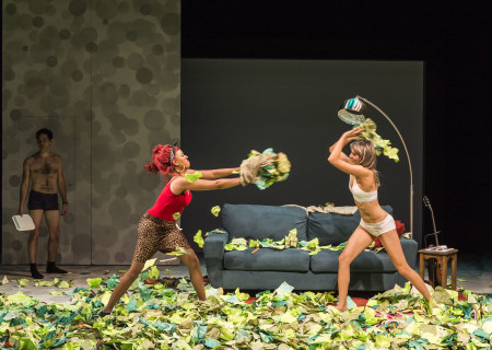 """L-R: David Clayton Rogers (background), Dinora Z. Walcott and Nora Kirkpatrick in """"Women Laughing Alone With Salad."""" Written by Sheila Callaghan and directed by Neel Keller, """"Women Laughing Alone With Salad"""" makes its West Coast premiere from March 6 through April 3, 2016, at Center Theatre Group's Kirk Douglas Theatre. For tickets and information, please visit CenterTheatreGroup.org or call (213) 628-2772.<br /> Contact: CTGMedia@CenterTheatreGroup.org / (213) 972-7376<br /> Photo by Craig Schwartz."""