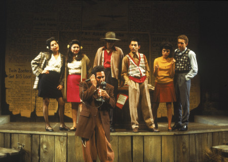 "Daniel Valdez (center front) and the cast in the world premiere of ""Zoot Suit"" at the Mark Taper Forum in 1978. Written and directed by Luis Valdez and presented in association with El Teatro Campesino, the revival of ""Zoot Suit"" will play January 31 through March 12, 2017, as part of Center Theatre Group/Mark Taper Forum's 2017-2018 season at the Los Angeles Music Center. Tickets for the Mark Taper Forum's 50th anniversary season are currently available by season ticket membership only. For information and to charge season tickets by phone, call the Exclusive Season Ticket Hotline at (213) 972-4444. To purchase season memberships online, visit www.CenterTheatreGroup.org/Taper. Contact: CTGMedia@ctgla.org / (213) 972-7376. Photo by Jay Thompson."