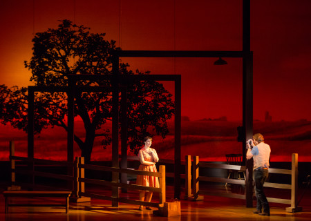 "Elizabeth Stanley and Andrew Samonsky in the Tony Award-winning ""The Bridges of Madison County"" The Broadway Musical at the Center Theatre Group/Ahmanson Theatre, December 8, 2015, through January 17, 2016. ""Bridges"" has a book by Marsha Norman, music and lyrics by Jason Robert Brown and is based on the novel by Robert James Waller. Bartlett Sher directs. Tickets are available at CenterTheatreGroup.org or by calling (213) 972-4400.  <br />
