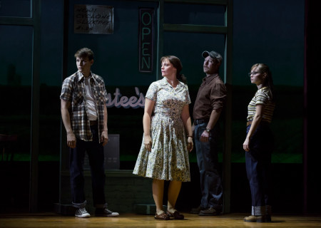 "L-R: Dave Thomas Brown, Elizabeth Stanley, Cullen R. Titmas and Caitlin Houlahan in the Tony Award-winning ""The Bridges of Madison County"" The Broadway Musical at the Center Theatre Group/Ahmanson Theatre, December 8, 2015, through January 17, 2016. ""Bridges"" has a book by Marsha Norman, music and lyrics by Jason Robert Brown and is based on the novel by Robert James Waller. Bartlett Sher directs. Tickets are available at CenterTheatreGroup.org or by calling (213) 972-4400.  <br />