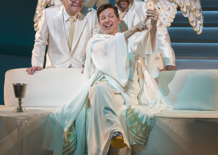 "L-R: James Gleason, Sean Hayes and David Josefsberg in ""An Act of God,"" written by God, transcribed by David Javerbaum and directed by Joe Mantello. ""An Act of God"" is now playing at the Center Theatre Group/Ahmanson Theatre through March 13, 2016. Tickets are available at CenterTheatreGroup.org or by calling (213) 972-4400.<br />