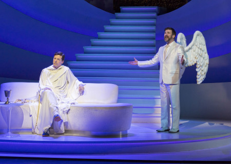 "L-R: Sean Hayes and David Josefsberg in ""An Act of God,"" written by God, transcribed by David Javerbaum and directed by Joe Mantello. ""An Act of God"" is now playing at the Center Theatre Group/Ahmanson Theatre through March 13, 2016. Tickets are available at CenterTheatreGroup.org or by calling (213) 972-4400.<br />