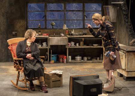 "L-R: Marie Mullen and Aisling O'Sullivan in the Druid production of ""The Beauty Queen of Leenane"" by Martin McDonagh. Directed by Garry Hynes, the production runs through December 18, 2016, at Center Theatre Group/Mark Taper Forum. For tickets and information, please visit CenterTheatreGroup.org or call (213) 628-2772. Contact: CTG Publicity (213) 972-7376 / CTGMedia@ctgla.org. Photo by Craig Schwartz."