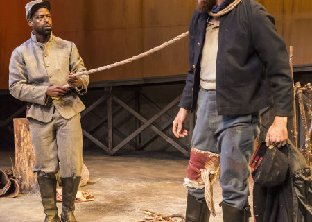 "L-R: Sterling K. Brown and Josh Wingate in ""Father Comes Home From The Wars (Parts 1, 2 & 3)"" at Center Theatre Group/Mark Taper Forum. Written by Suzan-Lori Parks and directed by Jo Bonney, the West Coast premiere of ""Father Comes Home From The Wars (Parts 1, 2 & 3)"" plays April 5 – May 15, 2016. For tickets and information, please visit CenterTheatreGroup.org or call (213) 628-2772. <br />