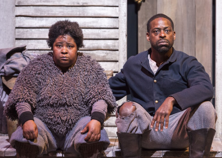 "Patrena Murray and Sterling K. Brown in ""Father Comes Home From The Wars (Parts 1, 2 & 3)"" at Center Theatre Group/Mark Taper Forum. Written by Suzan-Lori Parks and directed by Jo Bonney, the West Coast premiere of ""Father Comes Home From The Wars (Parts 1, 2 & 3)"" plays April 5 – May 15, 2016. For tickets and information, please visit CenterTheatreGroup.org or call (213) 628-2772. .Contact:  CTG Media and Communications/ (213) 972-7376/CTGMedia@ctgla.org.Photo by Craig Schwartz.."