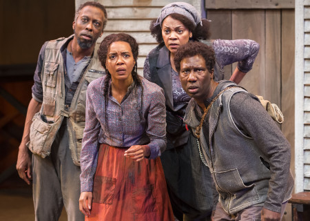"L-R: Julian Rozzell Jr., Sameerah Luqmaan-Harris, Tonye Patano and Russell G. Jones in ""Father Comes Home From The Wars (Parts 1, 2 &amp; 3)"" at Center Theatre Group/Mark Taper Forum. Written by Suzan-Lori Parks and directed by Jo Bonney, the West Coast premiere of ""Father Comes Home From The Wars (Parts 1, 2 &amp; 3)"" plays April 5 – May 15, 2016. For tickets and information, please visit CenterTheatreGroup.org or call (213) 628-2772. <br />