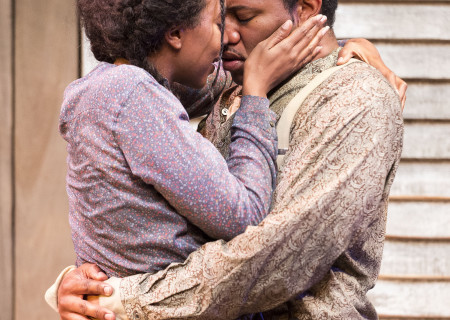 "Sameerah Luqmaan-Harris and Larry Powell in ""Father Comes Home From The Wars (Parts 1, 2 &amp; 3)"" at Center Theatre Group/Mark Taper Forum. Written by Suzan-Lori Parks and directed by Jo Bonney, the West Coast premiere of ""Father Comes Home From The Wars (Parts 1, 2 &amp; 3)"" plays April 5 – May 15, 2016. For tickets and information, please visit CenterTheatreGroup.org or call (213) 628-2772. <br />