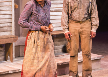 "Sameerah Luqmaan-Harris and Larry Powell in ""Father Comes Home From The Wars (Parts 1, 2 & 3)"" at Center Theatre Group/Mark Taper Forum. Written by Suzan-Lori Parks and directed by Jo Bonney, the West Coast premiere of ""Father Comes Home From The Wars (Parts 1, 2 & 3)"" plays April 5 – May 15, 2016. For tickets and information, please visit CenterTheatreGroup.org or call (213) 628-2772. <br />
