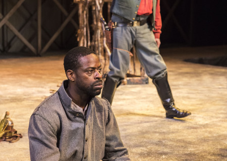"L-R: Sterling K. Brown and Michael McKean in ""Father Comes Home From The Wars (Parts 1, 2 & 3)"" at Center Theatre Group/Mark Taper Forum. Written by Suzan-Lori Parks and directed by Jo Bonney, the West Coast premiere of ""Father Comes Home From The Wars (Parts 1, 2 & 3)"" plays April 5 – May 15, 2016. For tickets and information, please visit CenterTheatreGroup.org or call (213) 628-2772. <br />