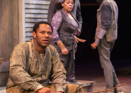"L-R: Larry Powell, Tonye Patano, Russell G. Jones and Julian Rozzell Jr. in ""Father Comes Home From The Wars (Parts 1, 2 & 3)"" at Center Theatre Group/Mark Taper Forum. Written by Suzan-Lori Parks and directed by Jo Bonney, the West Coast premiere of ""Father Comes Home From The Wars (Parts 1, 2 & 3)"" plays April 5 – May 15, 2016. For tickets and information, please visit CenterTheatreGroup.org or call (213) 628-2772. <br />