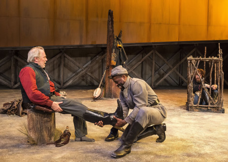 "L-R: Michael McKean, Sterling K. Brown and Josh Wingate in ""Father Comes Home From The Wars (Parts 1, 2 & 3)"" at Center Theatre Group/Mark Taper Forum. Written by Suzan-Lori Parks and directed by Jo Bonney, the West Coast premiere of ""Father Comes Home From The Wars (Parts 1, 2 & 3)"" plays April 5 – May 15, 2016. For tickets and information, please visit CenterTheatreGroup.org or call (213) 628-2772. <br />