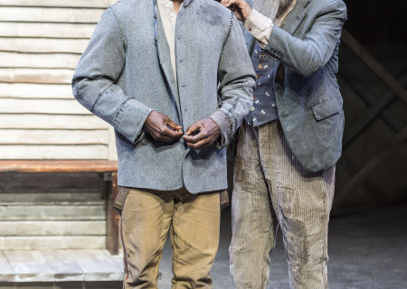 "L-R: Sterling K. Brown and Roger Robinson in ""Father Comes Home From The Wars (Parts 1, 2 & 3)"" at Center Theatre Group/Mark Taper Forum. Written by Suzan-Lori Parks and directed by Jo Bonney, the West Coast premiere of ""Father Comes Home From The Wars (Parts 1, 2 & 3)"" plays April 5 – May 15, 2016. For tickets and information, please visit CenterTheatreGroup.org or call (213) 628-2772. <br />