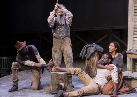 "L-R: Julian Rozzell Jr., Roger Robinson, Sterling K. Brown and Sameerah Luqmaan-Harris in ""Father Comes Home From The Wars (Parts 1, 2 & 3)"" at Center Theatre Group/Mark Taper Forum. Written by Suzan-Lori Parks and directed by Jo Bonney, the West Coast premiere of ""Father Comes Home From The Wars (Parts 1, 2 & 3)"" plays April 5 – May 15, 2016. For tickets and information, please visit CenterTheatreGroup.org or call (213) 628-2772. <br />