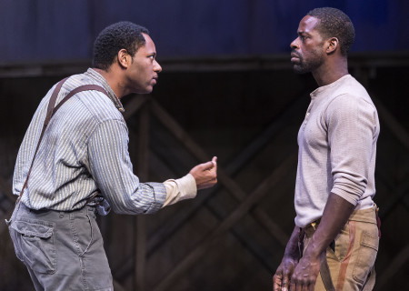 "L-R: Larry Powell and Sterling K. Brown in ""Father Comes Home From The Wars (Parts 1, 2 & 3)"" at Center Theatre Group/Mark Taper Forum. Written by Suzan-Lori Parks and directed by Jo Bonney, the West Coast premiere of ""Father Comes Home From The Wars (Parts 1, 2 & 3)"" plays April 5 – May 15, 2016. For tickets and information, please visit CenterTheatreGroup.org or call (213) 628-2772. <br />