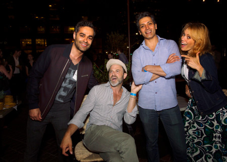 <em>Disgraced</em> cast members (L–R) Moneer Yaqubi, J Anthony Crane, Hari Dhillon, and Emily Swallow get goofy.