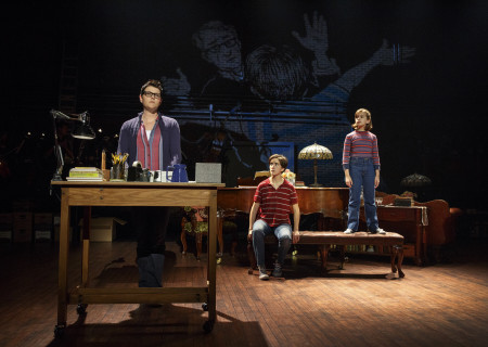 "(L-R) Kate Shindle as 'Alison,' Abby Corrigan as 'Medium Alison' and Alessandra Baldacchino as 'Small Alison' in the national tour of ""Fun Home."" ""Fun Home"" is part of the Center Theatre Group/Ahmanson Theatre's 2016-2017 season and will be presented February 21 through April 1, 2017. For tickets and information, please visit CenterTheatreGroup.org or call (213) 972-4400. Contact: CTGMedia@CenterTheatreGroup.org / (213) 972-7376. Photo by Joan Marcus."