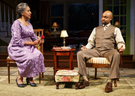 "Phylicia Rashad and Francois Battiste in The Public Theater production of ""Head of Passes."" Written by Tarell Alvin McCraney and directed by Tina Landau, ""Head of Passes"" plays September 13 through October 22, 2017, as part of Center Theatre Group's 50th anniversary season at the Mark Taper Forum. For tickets and information, please visit CenterTheatreGroup.org or call (213) 628-2772. Media Contact: CTGMedia@ctgla.org / (213) 972-7376. Photo by Joan Marcus."