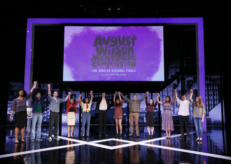 The regional finalists onstage at the Mark Taper Forum during the 2017 August Wilson Monologue Competition hosted by Center Theatre Group. Media Contact: (213) 972-7376 / CTGMedia@ctgla.org. Photo by Ryan Miller/Capture Imaging.