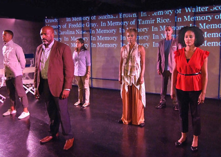 """L-R: Leith Burke, Bernard K. Addison, Lisa Pescia, Tina Lifford, Tony Maggio and Simone Missick in the Fountain Theatre production of """"Citizen: An American Lyric."""" Written by Claudia Rankine, adapted for stage by Stephen Sachs and directed by Shirley Jo Finney, """"Citizen"""" is part of Center Theatre Group's Block Party and will play April 28 to May 7 at the Kirk Douglas Theatre. Photo by Ed Krieger."""