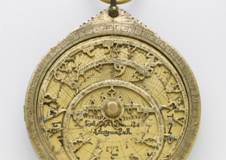 The astrolabe was invented in the classical world, inherited by the Islamic world, then passed on to medieval Europe. This astrolabe from LACMA's collection was made in 13th-century Seville, Spain. Though astrolabes are described as being used for navigation, by the time this one was created, they were mostly being used to tell time or set the time for prayer.