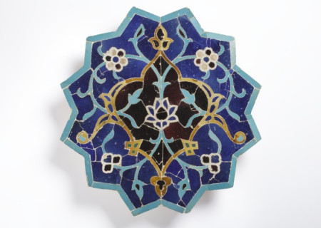 This tile belongs to the period of Timurid rule in Iran and Central Asia (1370–1506). The last great dynasty to emerge from the Central Asian steppe, the Timurids sponsored buildings that were often constructed on an enormous scale and sheathed in an elaborate decorative skin of brilliant glazed tile.