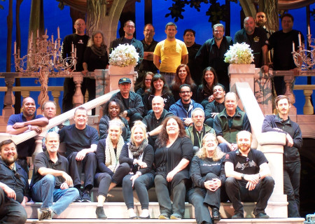"Andy Arnold (back row, far right) with the crew of ""Rodgers & Hammerstein's Cinderella"" at the Ahmanson Theatre in 2015."