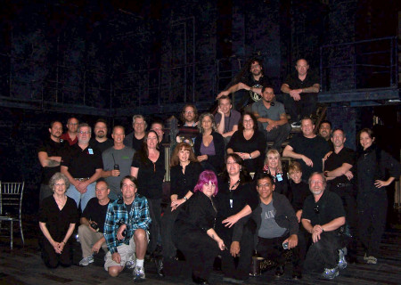 "Andy Arnold (second row of people standing, fourth from left) with the crew for ""Follies"" at the Ahmanson Theatre in 2012."