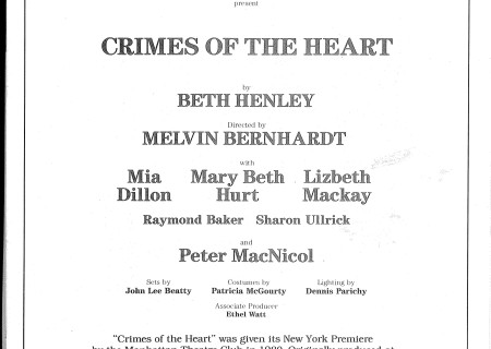 'Crimes of the Heart' played the Ahmanson Theatre in 1983.