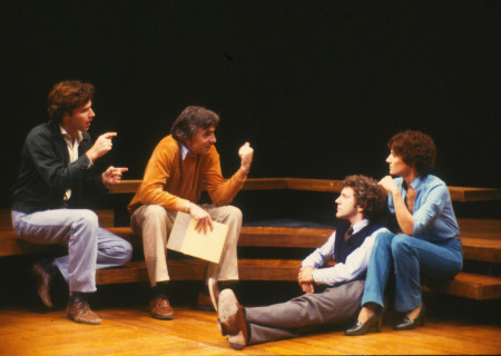"L-R: Sign language interpreter Gary Charm, director Gordon Davidson and actors John Rubinstein and Phyllis Frelich during rehearsal for ""Children of a Lesser God."" Photo by Jay Thompson."