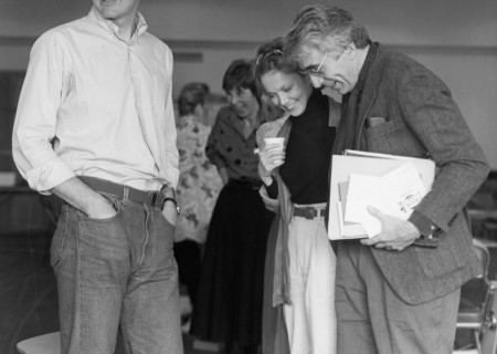 "L-R: Actors Michael Gross, Linda Purl and Gordon Davidson during rehearsal for ""The Real Thing"" in 1986. Photo by Jay Thompson."