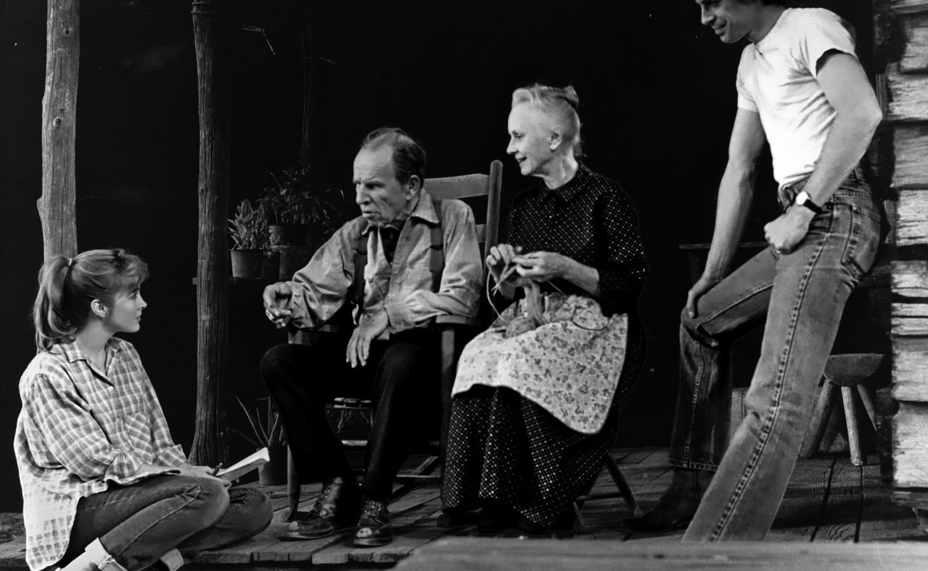 "(L–R) Donna Bullock, Hume Cronyn, Jessica Tandy, and Keith Carradine in ""Foxfire"""
