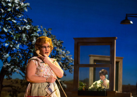 "Mary Callanan and Elizabeth Stanley (background) in the Tony Award-winning ""The Bridges of Madison County"" The Broadway Musical at the Center Theatre Group/Ahmanson Theatre, December 8, 2015, through January 17, 2016. ""Bridges"" has a book by Marsha Norman, music and lyrics by Jason Robert Brown and is based on the novel by Robert James Waller. Bartlett Sher directs. Tickets are available at CenterTheatreGroup.org or by calling (213) 972-4400.  <br />