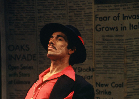"Edward James Olmos in the world premiere of ""Zoot Suit"" at the Mark Taper Forum in 1978."