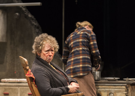 "L-R: Marie Mullen and Aisling O'Sullivan (background) in the Druid production of ""The Beauty Queen of Leenane"" by Martin McDonagh. Directed by Garry Hynes, the production runs through December 18, 2016, at Center Theatre Group/Mark Taper Forum. For tickets and information, please visit CenterTheatreGroup.org or call (213) 628-2772. Contact: CTG Publicity (213) 972-7376 / CTGMedia@ctgla.org. Photo by Craig Schwartz."